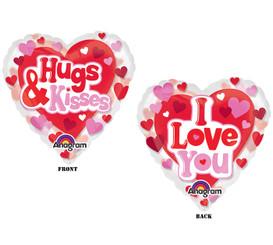 """26"""" See-Thru Hugs, Kisses & Love (2-sided)"""