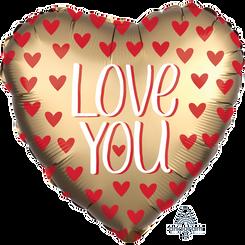 """18"""" Satin Gold Love Hearts"""