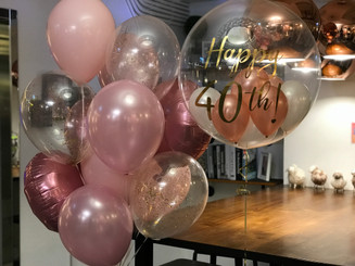 crystal balloon with pink balloon set