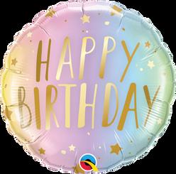 "18"" Round Birthday Pastel Ombre & Stars Foil Balloon"