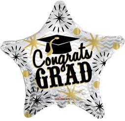"""18"""" Congrats Grad Gold & Silver Balloon"""