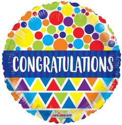 "18"" Congratulations Dots & Triangles Foil Balloon"