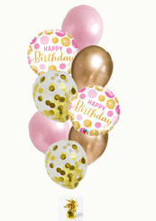 Gold and Pink latex balloons bouquet