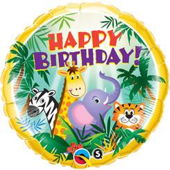 "18"" Happy Birthday Jungle Animals"