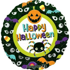 "18""Happy Halloween Pumpkin Spider Bats Foil Balloon"