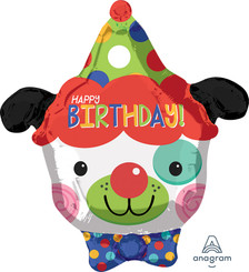 "18"" Happy Birthday Clown Dog Foil Balloon"