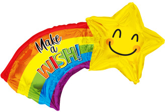 "28"" Make A Wish Shooting Star Shape Foil Balloon"