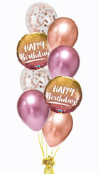 rosegold Happy Birthday ombre bouquet