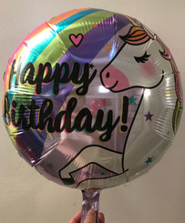 "18"" Birthday Unicorn & Rainbow Round Foil Balloon"