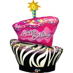 """41"""" Zebra Birthday Cake"""