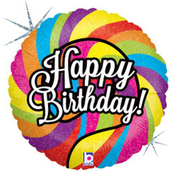 "18"" Spiral Sparkling Happy Birthday"
