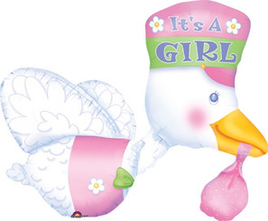 "32"" Baby Shower Stork It's A Girl (3D)"