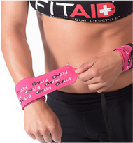 FITAID STEP & REPEAT WRIST WRAPS -PINK www.battleboxuk