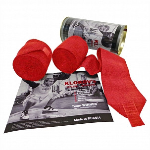 Klokov Winner Weightlifting Elastic Knee Bandage Extra Long 3.5 Hook Grip Edition Red - www.BattleBoxUk.com