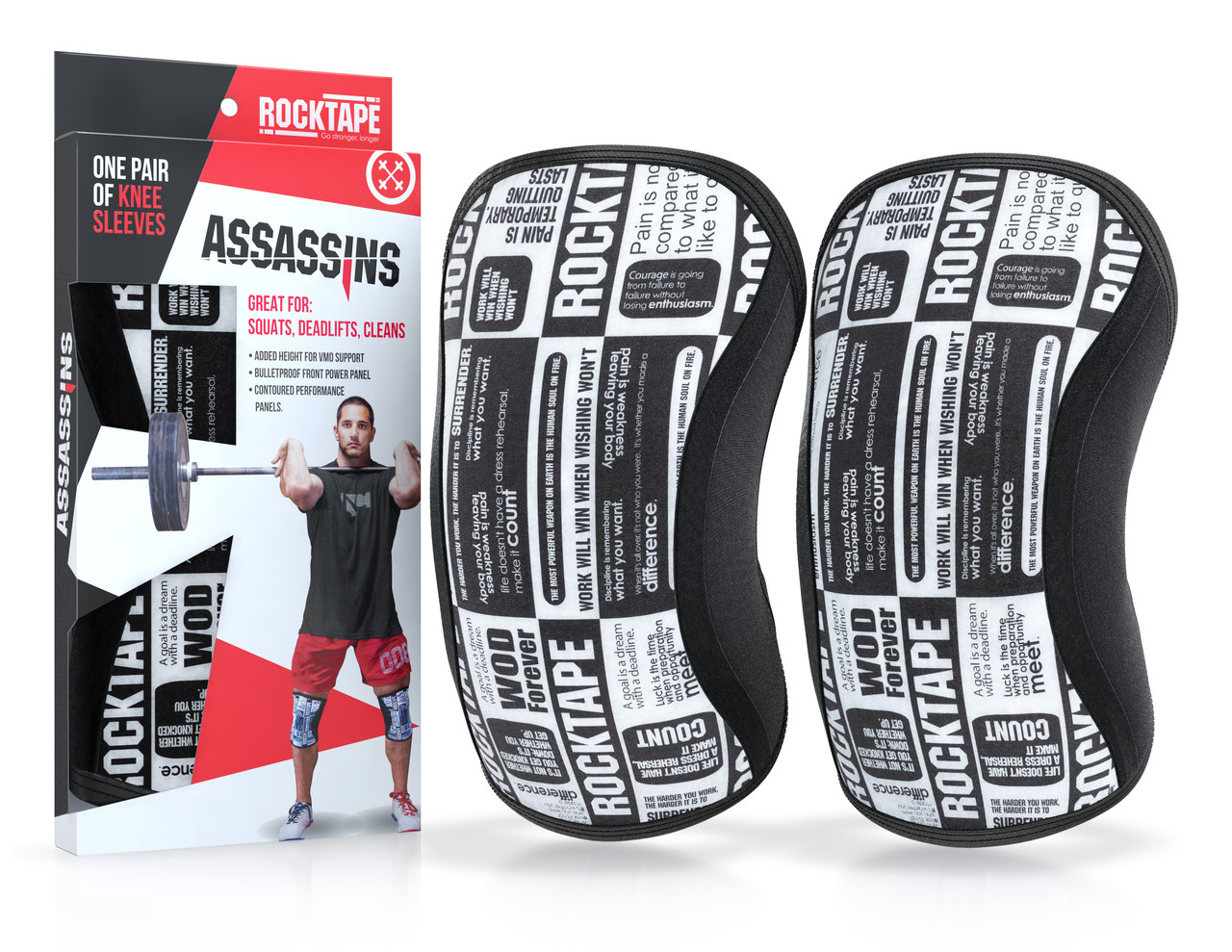6efd129e38d45 RockTAPE Assassins® Manifesto Knee Sleeves - Knee Support & Protection Caps  5mm or 7mm
