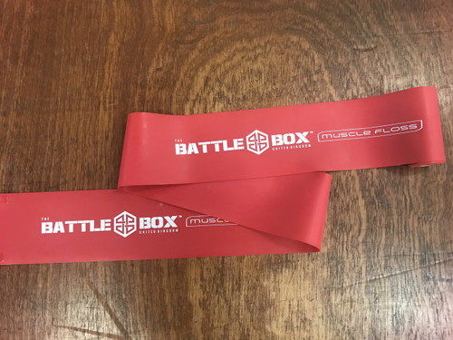 "BattleBox UK™ Extra Wide 4"" Muscle Floss Mobility Band Red X-Heavy 7ft - www.battleboxuk.com"