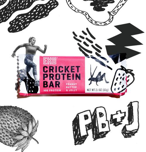 EXO Cricket Protein Bars Peanut Batter & Jelly 12 Bars www.battleboxuk.com