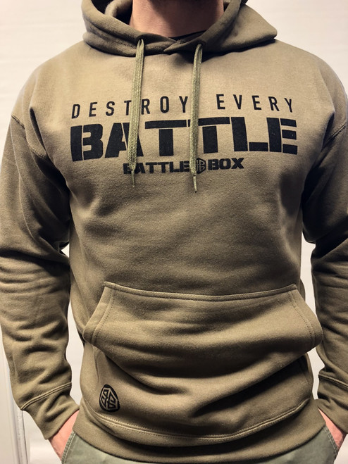 "BattleBox UK™ ""DESTROY EVERY BATTLE"" ARMY GREEN HOODIE"