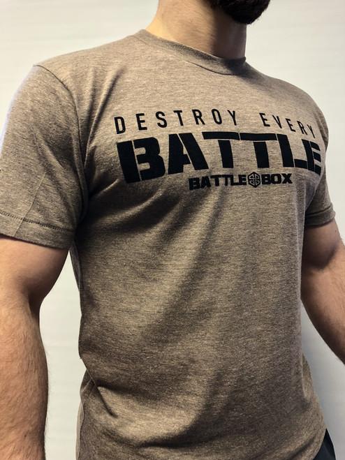 """BattleBox UK™ """"DESTROY EVERY BATTLE"""" BROWN T-SHIRT"""