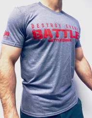 "BattleBox UK™ ""DESTROY EVERY BATTLE"" GREY & RED T-SHIRT"