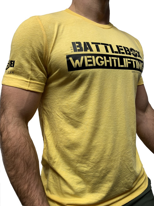 BattleBox UK™ | Weightlifting T-shirt Black and Gold Yellow www.BattleBoxUk.com