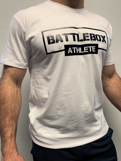 BattleBox UK™ | ATHLETE | Short Sleeve T-shirt White Edition | Black & White - www.BattleBoxUk.com