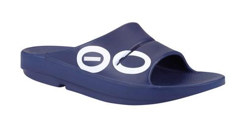 OOFOS MEN'S OOAHH SPORT Navy Recovery Footwear Slide In Flip Flop Sandal - www.BattleBoxUk.com