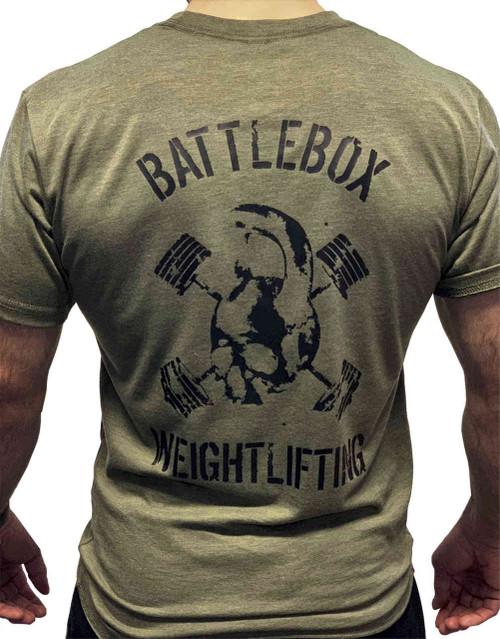 BattleBox UK™ | WEIGHTLIFTING| T-shirt | SKULL Military Green & Black  - www.BattleBoxUk.com