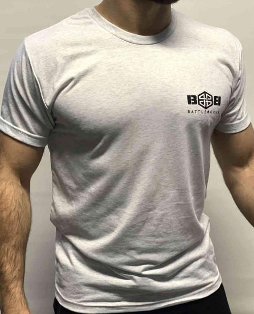 BattleBox UK™| T-shirt | WORKOUT Heather White & Black Training Top - www.BattleBoxUk.com