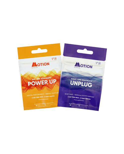 Motion Nutrition | Nootropics | Power Up + Unplug 3-Day Sampler  www.battleboxuk.com
