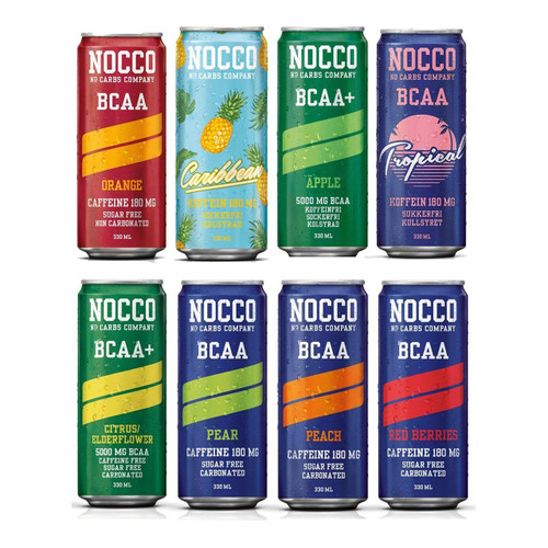 NOCCO (No Carbs Company) Mixed Case (12 x 330ml cans) ALL FLAVOURS  - www.BattleBoxUk.com