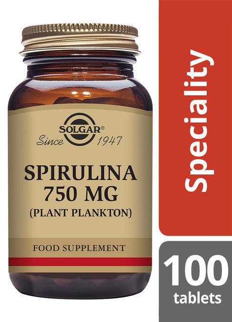 Solgar® | Spirulina 750mg Tablets-Pack of 100 (E2660) www.battleboxuk.com