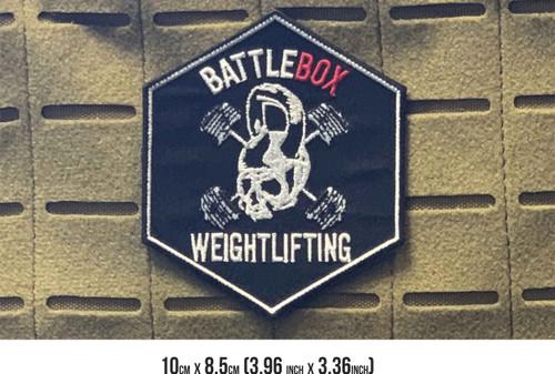 BattleBox Weightlifting™   Skull  10 cm x 8.5cm Embroidered Patch VELCRO® Brand Backing - www.BattleBoxUk.com