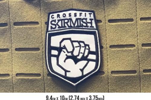 CrossFit Skirmish | 9.4cm x 10cm Embroidered Patch VELCRO® Brand Backing  - www.BattleBoxUk.com