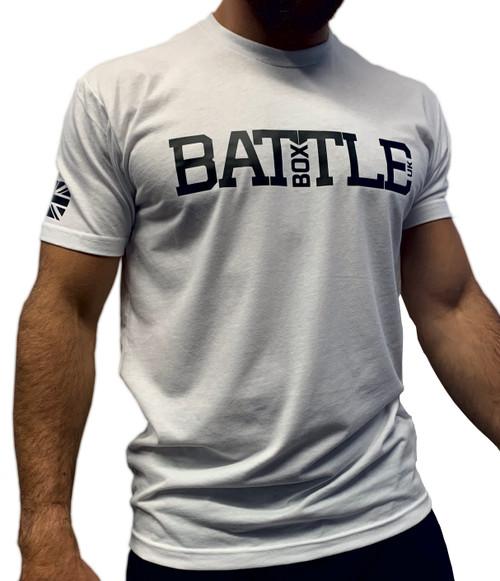 BattleBox UK™ | WOD 2.0 Union Jack | Short Sleeve Sueded T-shirt | White & Black  - www.BattleBoxUk.com
