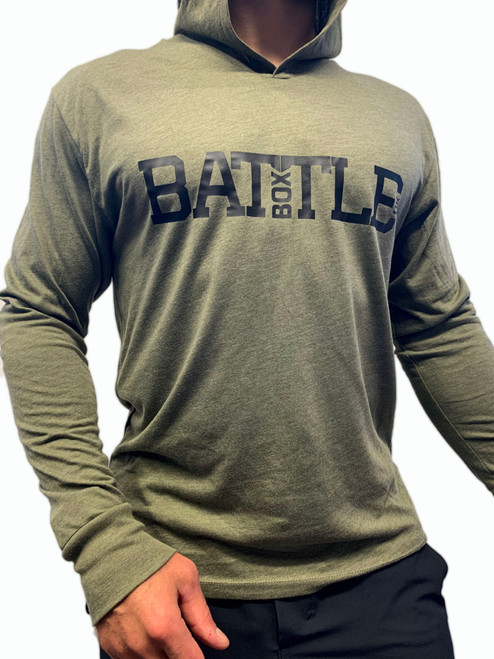 BattleBox UK™ | WOD 2.0 | Long Sleeve T-shirt Hoodie Tri-Blend | Military Green  - www.BattleBoxUk.com