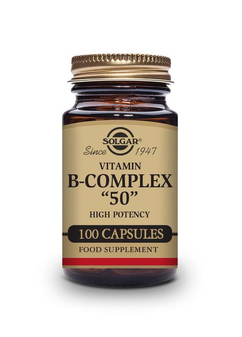 Solgar   Vitamin B-Complex 50 High Potency Vegetable Capsules  Pack of 100 (E1121E) www.battleboxuk.com