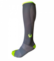 Hylete Cross Training knee high performance compression socks 1.0 (Gun Metal/Neon Green)