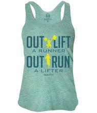 RokFit Outlift a Runner Outrun a Lifter Tri-Lemon Tank