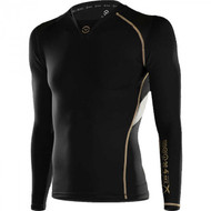 VIRUS Men's Bioceramic X-Form Posture Support Long Sleeve Compression Top Black Au8X