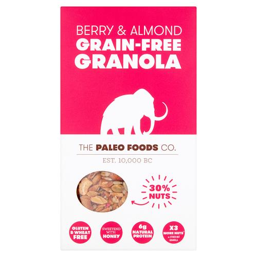 THE PALEO FOODS CO   BERRY & ALMOND GRAIN-FREE GRANOLA   300g www.battleboxuk.com