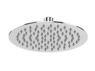 Round stainless steel shower head featuring the latest design ultra slim line edge.