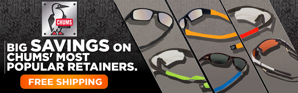 SAVE BIG on Chums' most popular safety glasses retainers.  Buy now for FREE Shipping!