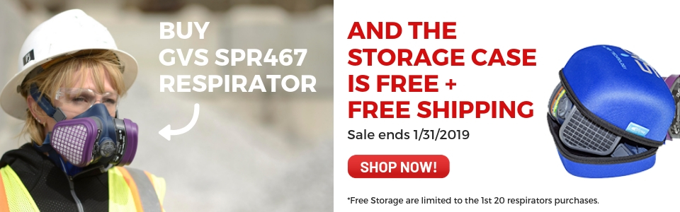 Buy the new GVS Organic Vapor/P100 Respirator and receive FREE Shipping and FREE storage case.