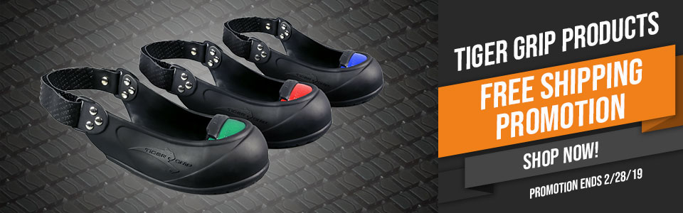 FREE SHIPPING ON ALL TIGER GRIP SAFETY OVERSHOES, SAFETY TOE, SLIP RESISTANT, PUNCTURE RESISTANT PROMO ENDS 2/28/2019