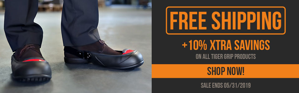 Buy Any Tiger Grip Safety Overshoes and with free ground shipping and Save an Extra 10%.  Buy now and save.