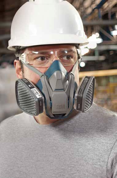 Worker wearing 3M respirator
