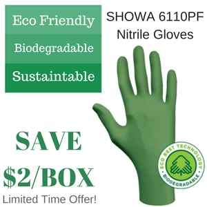 Limited Time Only, Purchase 10 boxes of Showa 6110PF Disposable Nitrile Gloves and SAVE $2 per box!