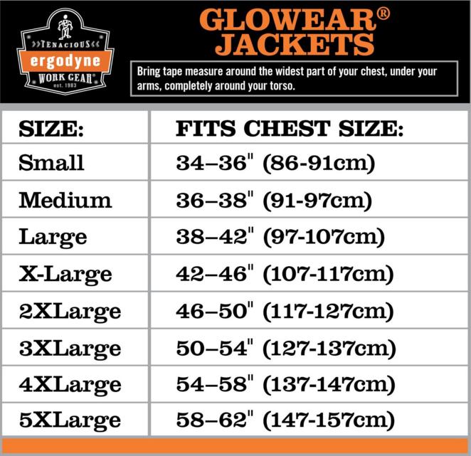 Glowear Jacket Chart Sizing