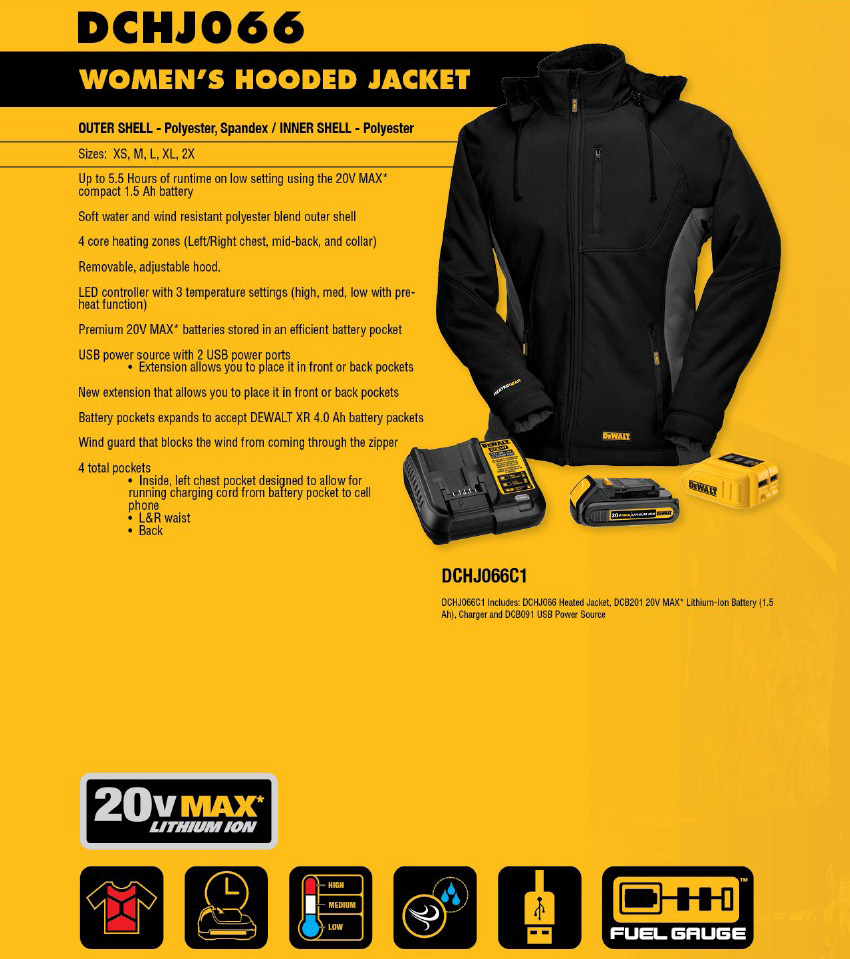 92d608b1 DeWalt DCHJ066 Heated Women's Hooded Jacket